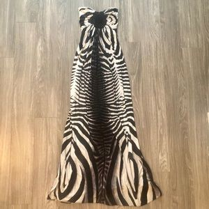 Sky strapless zebra print maxi dress